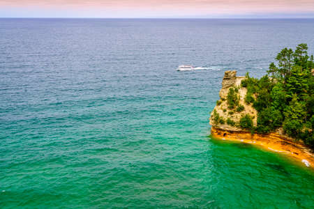 the miners: Scenic view of Miners Castle rock formation in Pictured Rocks National Lakeshore on Upper Peninsula, Michigan Stock Photo