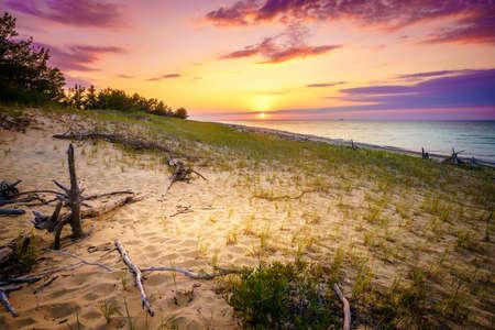 lake beach: Sunset on the beach of Lake Superior in Whitefish Point, Michigan, Upper Peninsula