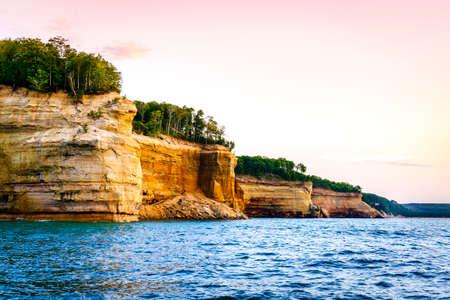 Lake Superior coastline at Pictured Rocks National Lakeshore on Upper Peninsula, Michigan Stock Photo