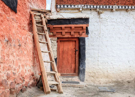 Small courtyard at Diskit Buddhist monastery in Ladakh, India