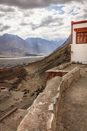 ledge: View to Nubra Valley from Diskit Buddhist Monastery in Kashmir, India