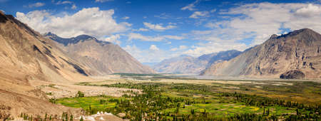 Panoramin view of Nubra Vally in Ladakh region of Kashmir, India