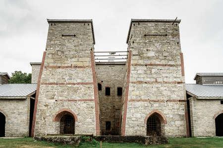 industrial park: Blast furnace complex in Fayette Historic Townsite in Michigan