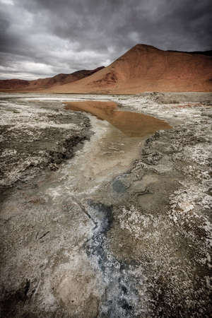 Tso Kar salt lake in the southern part of Ladakh, Kashmir, India Stock Photo