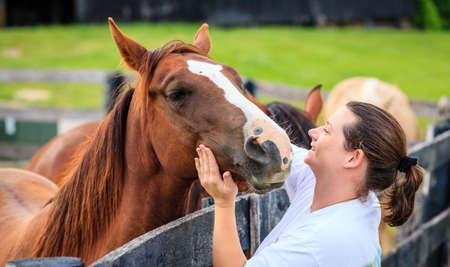 Young woman is petting a horse on a farm in Kentucky