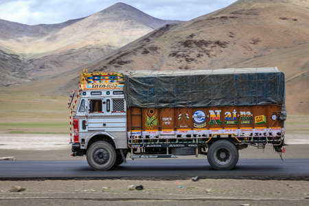 Kashmir, India - July 16, 2016: Traditionally decorated truck on the road through Changthang plateau in Kashmir, India