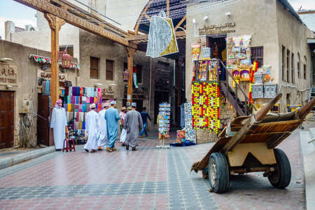 Dubai, UAE, january 29, 2016: Shopping street at Dubai Textile Souk in Bur Dubai