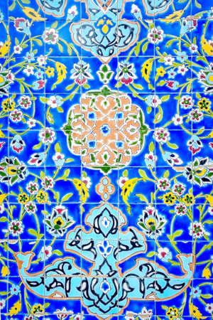 Decorative tiles on the wall of Iranian Mosque in Bur Dubai