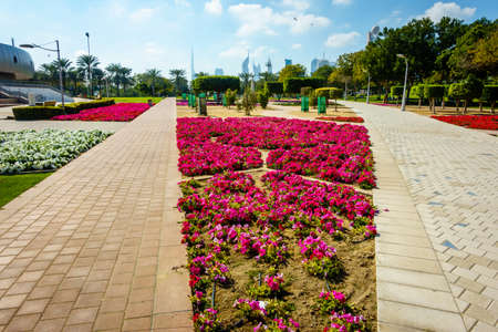 Alleys and flowe beds in Zabeel Park in Dubai with downtown skyline in the backdrop