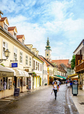 Zagreb, Croatia, September 1, 2017: Ivana Tkalciceva street - pedestrian shopping street in Zagreb city center