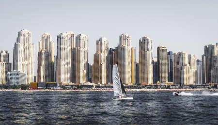 Seaside view of Jumeirah Beach Residence or JBR in Dubai, UAE