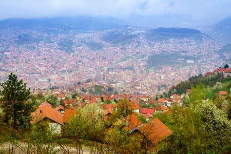 Birds eye view of the city of Sarajevo, Bosnia