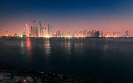 Nighttime view of Dubai Marina skyline