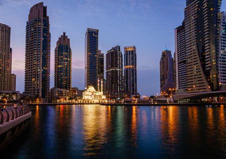 Mohammed Bin Ahmed Almulla Mosque in Dubai Marina at night Stock Photo
