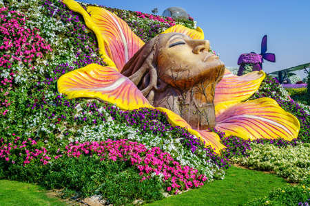Dubai, UAE, December 12, 2016: Miracle Garden is one of the main tourist attractions in Dubai, UAE 에디토리얼