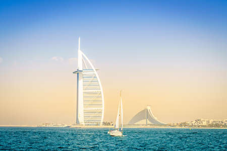 Dubai, UAE, March 31, 2017: seaside view of world's famous Burj Al Arab and Jumeirah Beach hotels