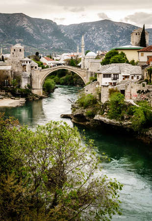 Scenic view of the city of Mostar and the Neretva River, Bosnia