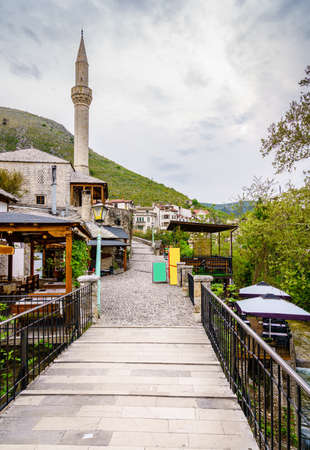 Old cobblestone street in the city of Mostar, Bosnia-Herzegovina