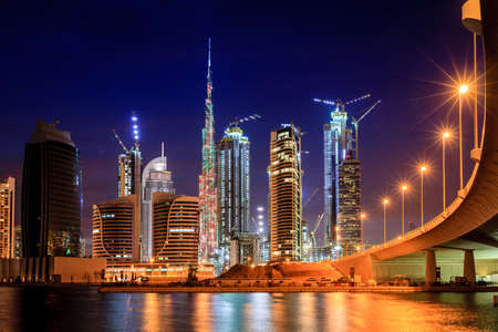 View of Dubai downtown skyline at night