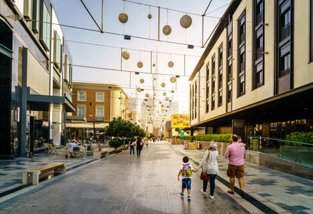 Dubai, UAE, December 23, 2016: Shopping street in Dubai City Walk district. The area is still under development. Editorial