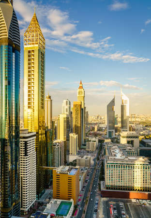 High point view of Dubai Financial District skyline in the evening Editorial