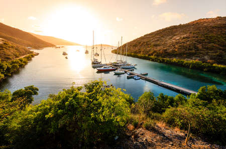 Beautiful sunset scene on the island of Virgin Gorda in BVI Stock Photo