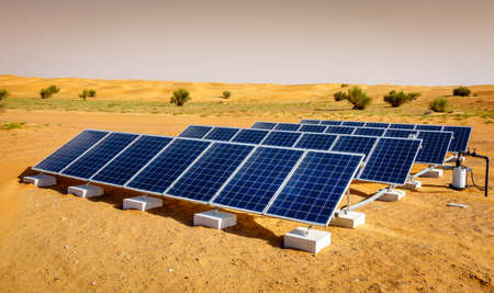 Solar panels in Dubai Desert Conservation Reserve, UAE Stock Photo