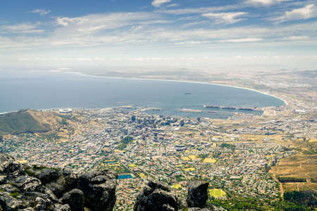 View of the city of Cape Town the Atlantic coast from Table Mountain Stock Photo