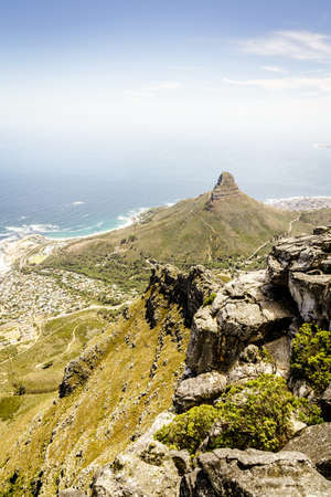 View of Lions Head Mountain from Table Mountain in Cape Town, South Africa