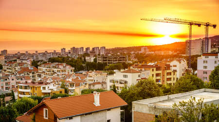 View of skyline of Varna, Bulgaria at sunset Stock Photo