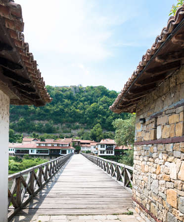 Foot bridge across the Yantra River in Veliko Tarnovo, Bulgaria Editorial