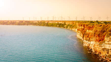 Field of wind turbines on Cape Kaliakra, Bulgaria