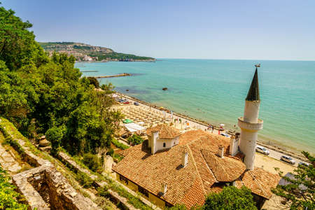 Scenic view of Black Sea coast in Balchik, Bulgaria with Balchik Palace in the foreground Stock Photo