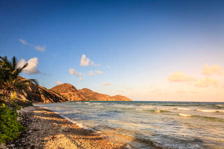 Evening on an empty beach on the island of Virgin Gorda, BVI Stock Photo