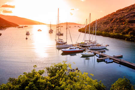 Beautiful sunset scene on the island of Virgin Gorda in BVI 免版税图像