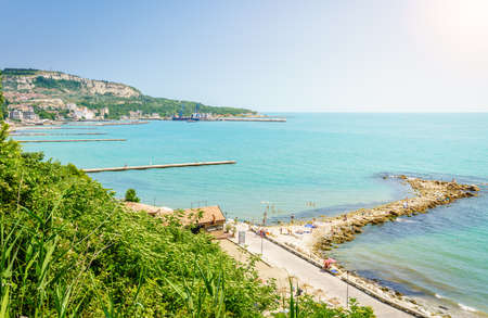 View of Black Sea coastline in Balchik, Bulgaria Stock Photo