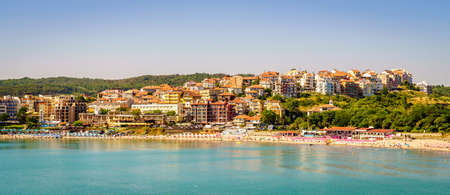 View of coastline and a public beach in Black Sea resort town of Sozopol, Bulgaria Stock Photo