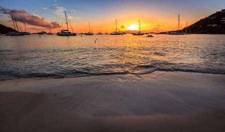 Beautiful sunset scene in a harbor in BVI, Stock Photo