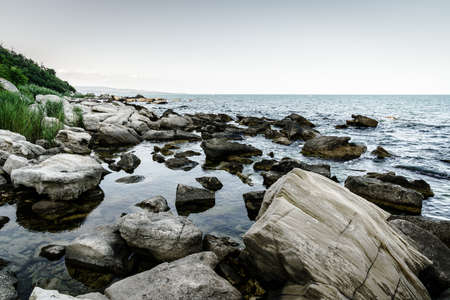 Rocky beach on the Black Sea in Varna, Bulgaria Stock Photo