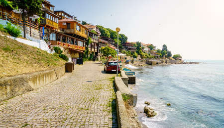 Promenade along the Black Sea coast in Nessebar, Bulgaria Stock Photo