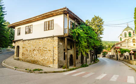 Intersection in the center of town of Teteven in Bulgaria Stock Photo