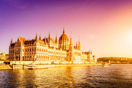 Famous Hungarian Parliament Bulding on the bank of the Danube River Stock Photo