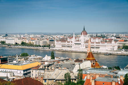 Beautiful view of Budapest skyline and Hungarian Parliament Bulding by the Danube River Stock Photo