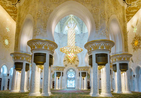 Interior rooms of Sheikh Zayed Grand Mosque in Abu Dhabi, UAE