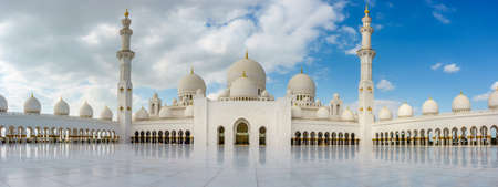 Panoramic view of inner court of Sheikh Zayed Grand Mosque in Abu Dhabi, UAE
