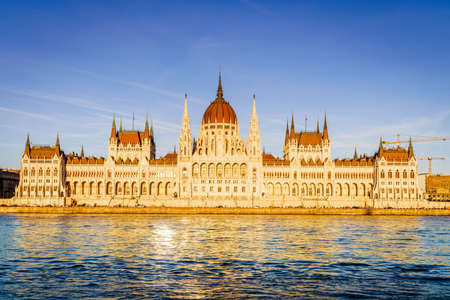 Famous Hungarian Parliament Bulding on the bank of the Danube River Editorial
