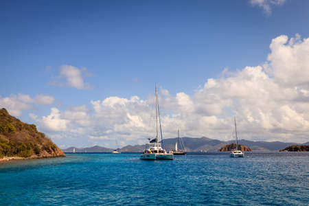 Sailboats anchored in a harbor in British Virgin Islands