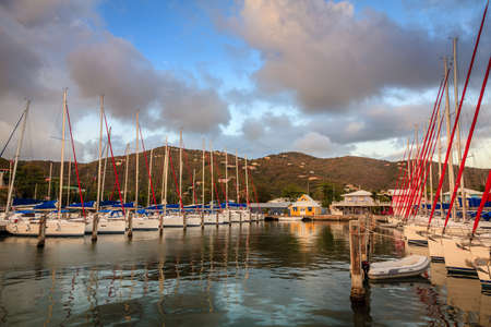 Sailboats at a marina at Wickham's Cay II on Tortola in British Virgin Islands Stock Photo