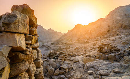Ruins of an ancient village in the mountains of Ras Al Khaimah, UAE