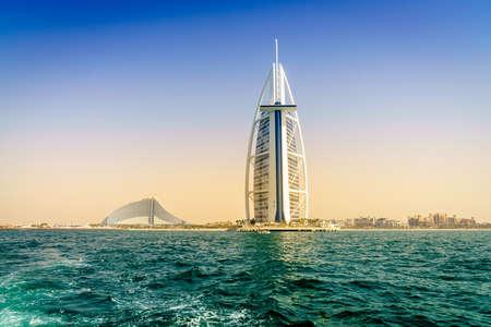 Dubai, UAE, March 31, 2017: seaside view of worlds famous Burj Al Arab and Jumeirah Beach hotels
